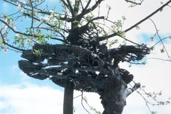 Apple tree inside sculpture